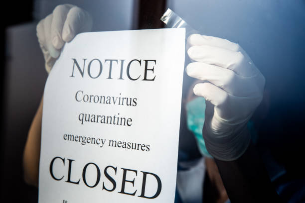 Coronavirus epidemic forcing Healthcare institutions to close the doors stock photo