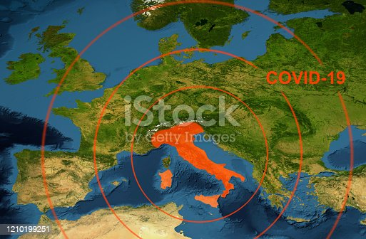 Coronavirus epidemic, word COVID-19 on Europe map. Novel coronavirus outbreak in Italy, the spread of corona virus in the World. COVID-19 infection concept. Elements of this image furnished by NASA.