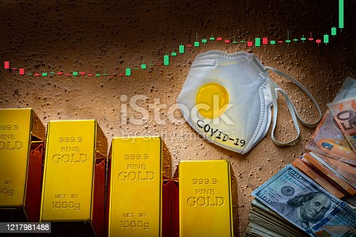COVID-19 Coronavirus financial chart positive earnings with mask and Currency Dollar Euro and Gold