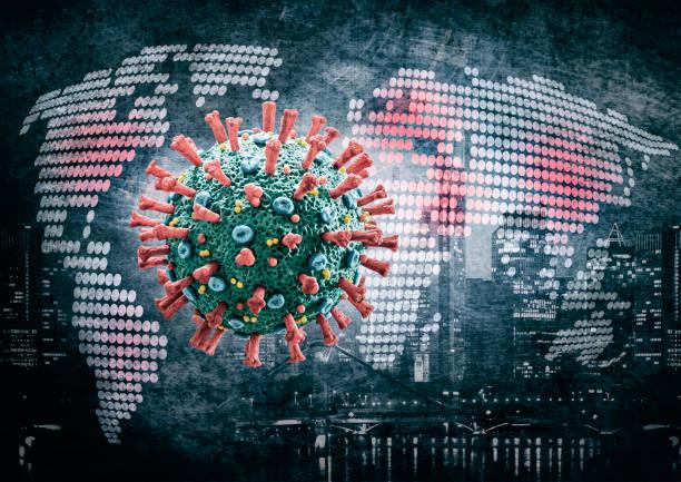 COVID-19 Coronavirus floating in front of world map stock photo