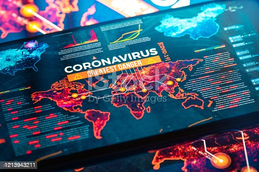 COVID-19 Coronavirus Greatest Danger on a World Map on a digital LCD Display Map source: https://www.nasa.gov