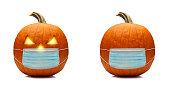 Coronavirus / Covid-19 Halloween pumpkin or jack o'lantern with a protective face mask.