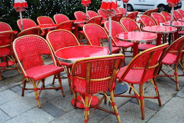 Coronavirus impact, empty restaurant and cafe tables stock photo