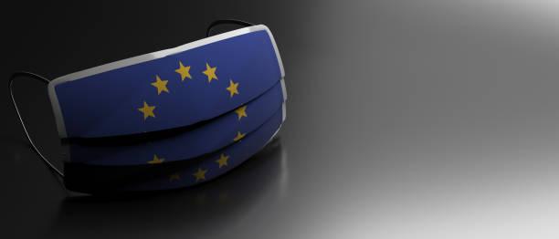 Coronavirus in der EU, schützende chirurgische europäische Flagge Maske auf schwarzem Hintergrund. 3D-Illustration – Foto