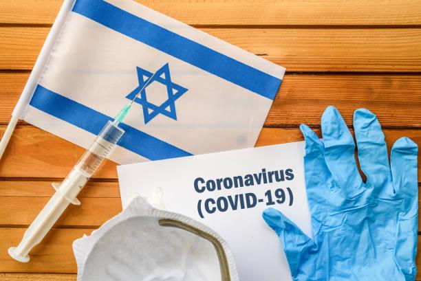 Coronavirus in Israel. Flag of Israel, stock photo