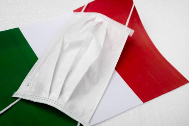 Coronavirus in Italy. Medical antibacterial mask on the background of the Italian flag stock photo