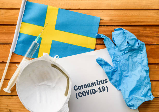 Coronavirus in Sweden Flag of Sweden,, vaccine, face mask for virus, glove and paper sheet with words Coronavirus COVID-19 sweden stock pictures, royalty-free photos & images