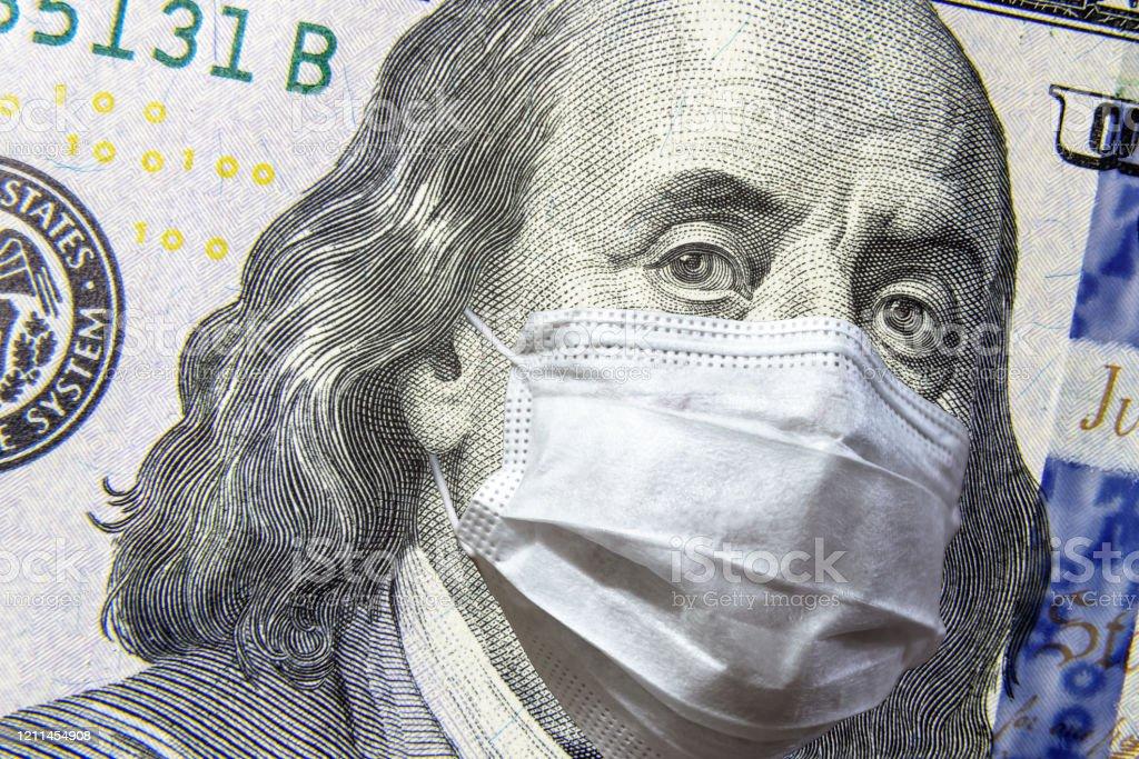 Covid19 Coronavirus In Usa 100 Dollar Money Bill With Face ...