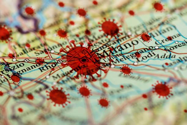 Coronavirus infection map, Milano stock photo