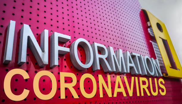 Coronavirus Information point text with icon stock photo