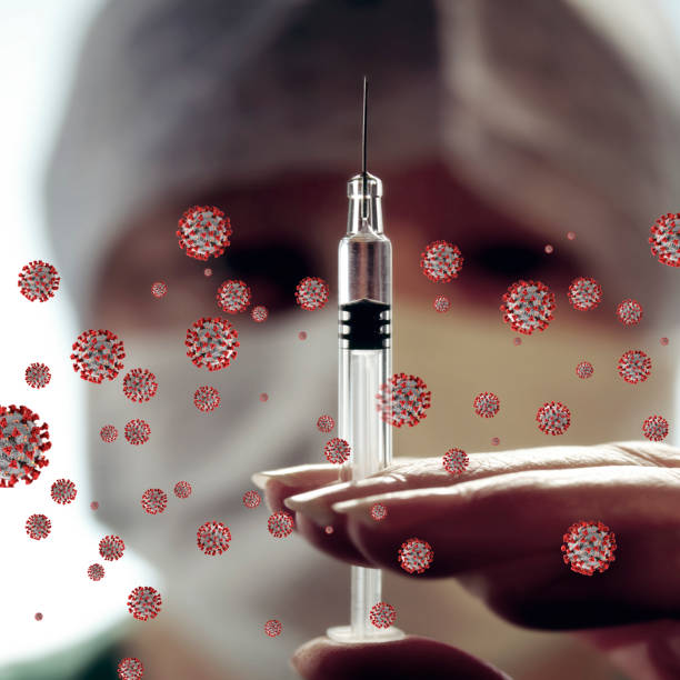 Coronavirus - injection of Covid-19 Vaccine. stock photo