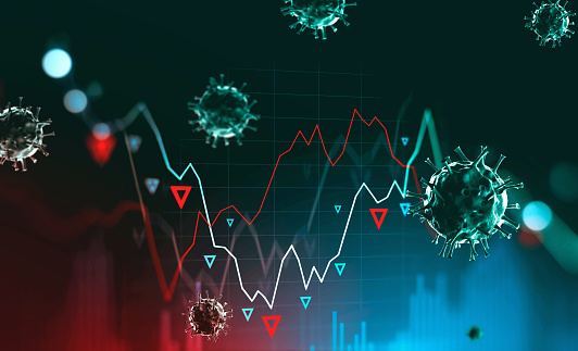 Digital stock market falling graph and blurry coronavirus. Concept of stock market crash due to covid 19 coronavirus pandemic. 3d rendering toned image double exposure