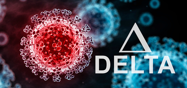 Corona Virus Mutant with blue human cell background