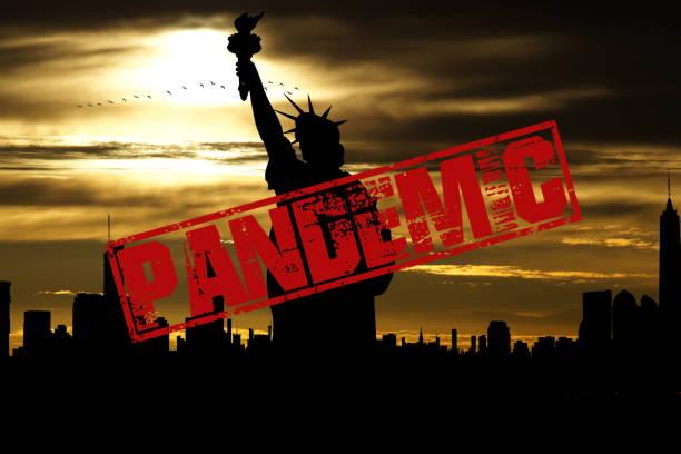 Coronavirus, New York and pandemic warning stock photo