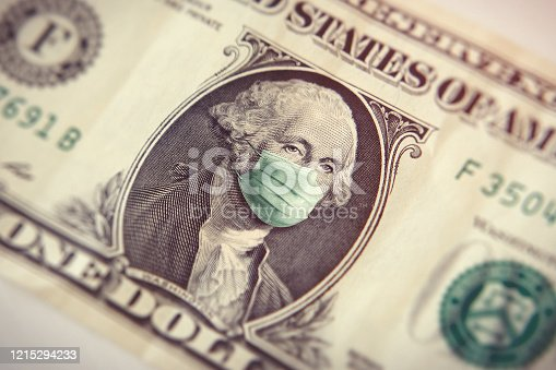 Coronavirus one dollar bill with picture of G. Washington president with surgical mask