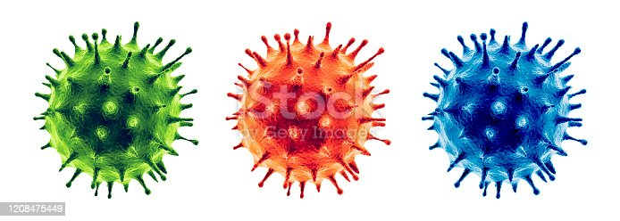 Coronavirus or Flu virus isolated - Microbiology And Virology Concept