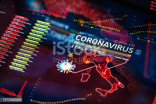 Coronavirus (COVID-19) Outbreak in Italy Statistics close-up on digital display. Quarantine map.