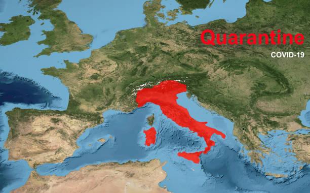 COVID-19 coronavirus outbreak in Italy, spread of corona virus in world. Quarantine with COVID-19 on Europe map. stock photo