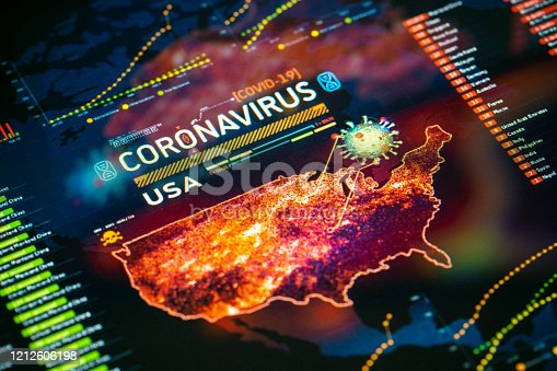 Coronavirus (COVID-19) Outbreak in USA Statistics close-up on digital display. Quarantine map.