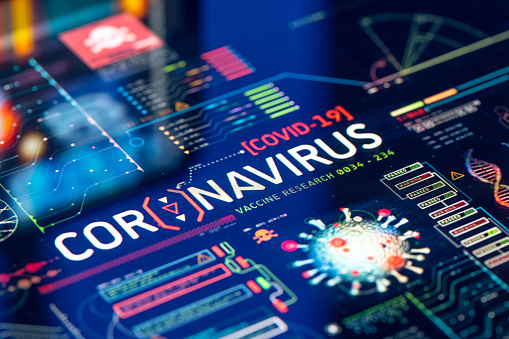 Coronavirus (COVID-19) Outbreak Laboratory Research & Quality Control on a high technology equipment.