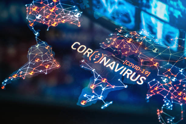 Coronavirus Outbreak on a World Map stock photo