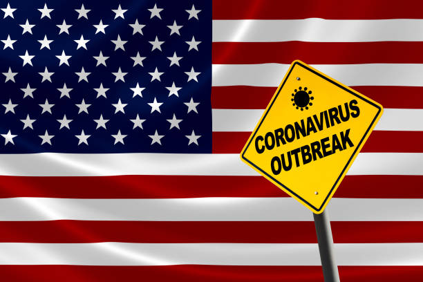 Coronavirus Outbreak Warning Sign With USA Flag stock photo