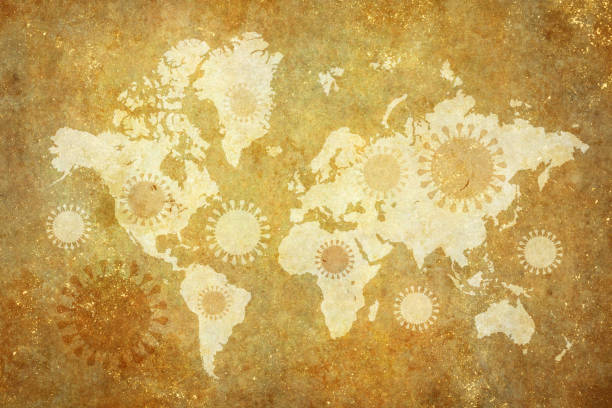 Coronavirus over world map stock photo