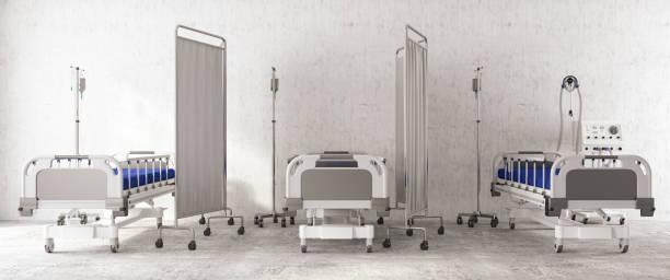 coronavirus pandemische ziekenhuisbedden groothoekweergave - ventilator bed stockfoto's en -beelden