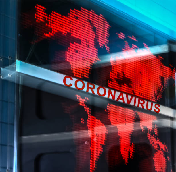 Coronavirus pandemic over globe stock photo