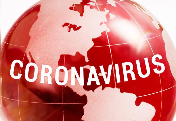 coronavirus pandemic over globe - dna virale foto e immagini stock