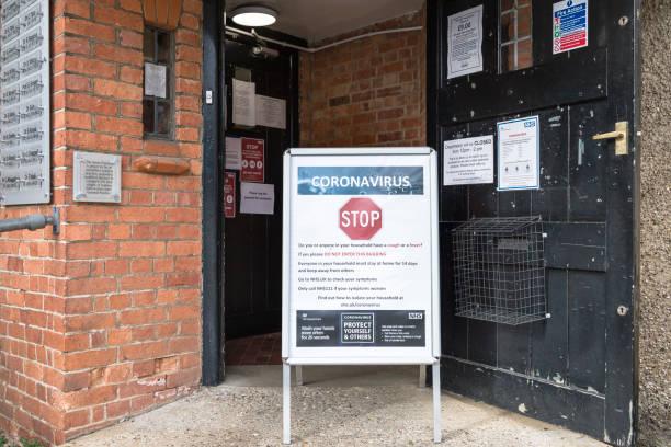 Coronavirus prevention information sign outside UK GP stock photo