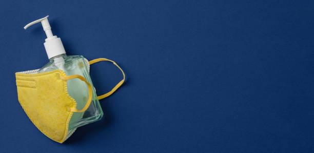 Coronavirus prevention medical surgical masks and hand sanitizer gel for hand hygiene corona virus protection