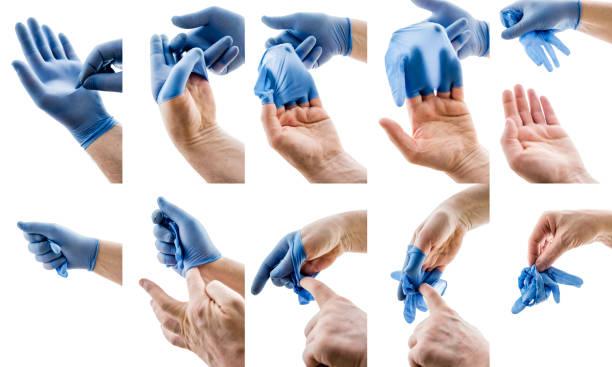 Coronavirus. Procedure for removing protective gloves. stock photo