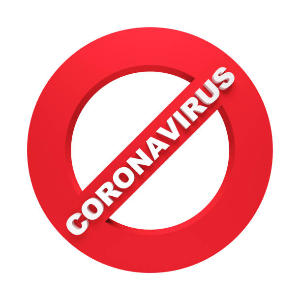 coronavirus prohibition sign isolated on white coronavirus prohibition sign isolated on white. 3d rendering covid icon stock pictures, royalty-free photos & images