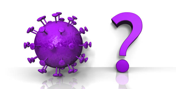 Coronavirus purple question mark Covid-19 sign molecule symbol interrogation point icon 3d rendering stock photo