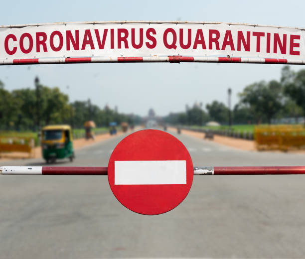 coronavirus quarantäne in neu-delhi - standbildaufnahme stock-fotos und bilder