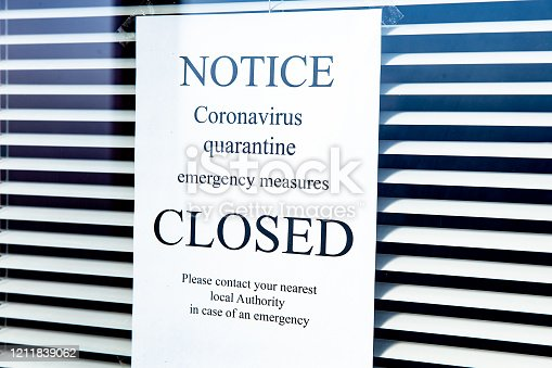 Coronavirus Quarantine notice on the window