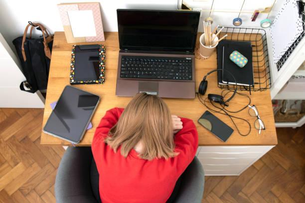 Coronavirus. Quarantine. Online training education . Computer, laptop and girl studying remotely. Coronavirus pandemic in the world. Closing schools – zdjęcie