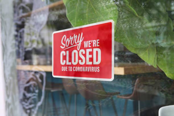 Coronavirus restaurant closed sign horizontal stock photo