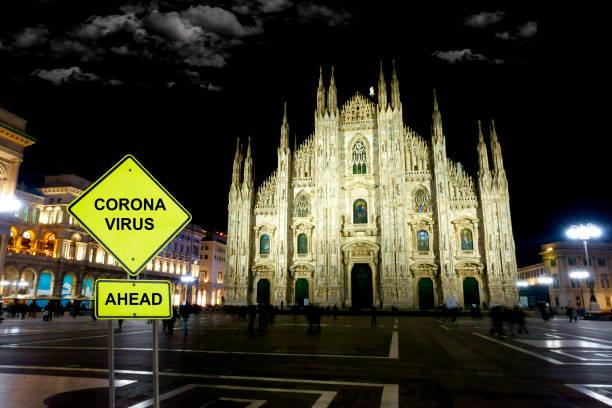 Coronavirus Straße Warnschild. Mailand. – Foto