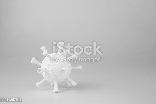 istock COVID-19 coronavirus single model white soft mood. 1214857917