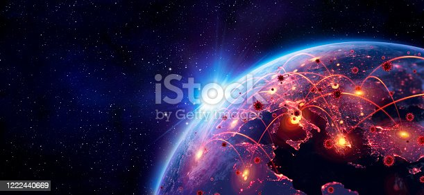 istock Coronavirus Spreading In Europe - Elements of this image furnished by NASA - contain 3d Rendering And 3d Illustration 1222440669