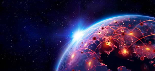 Coronavirus Spreading In Europe - Elemente dieses Bildes von der NASA zur Verfügung stellten - enthalten 3d Rendering Und 3d Illustration – Foto