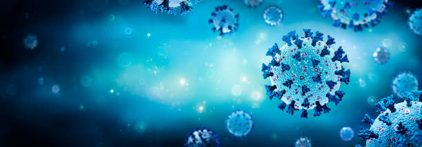 Coronavirus - Structure With Complete Surface Protein Representations In blue Background - 3d Rendering stock photo