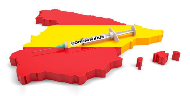 Coronavirus Syringe on Extruded Spain Map. 3d Rendering stock photo