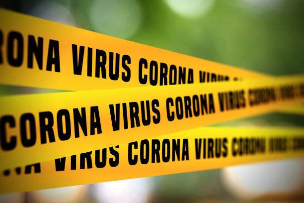 Coronavirus tape barrier. Covid-19 Outbreak. stock photo