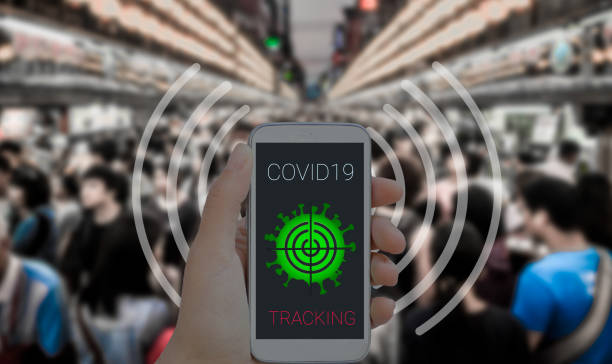 Coronavirus tracking application to reduce coronavirus spreading after quarantine detecting infected people. stock photo