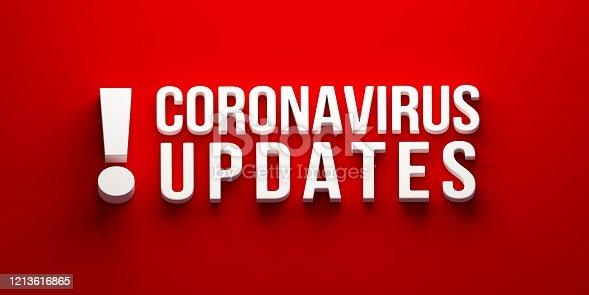 istock Coronavirus Updates banner. 3D rendering illustration 1213616865