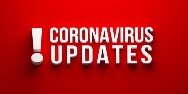 Coronavirus Updates banner. 3D rendering illustration 3D text Coronavirus Updates cover page for website update communication stock pictures, royalty-free photos & images