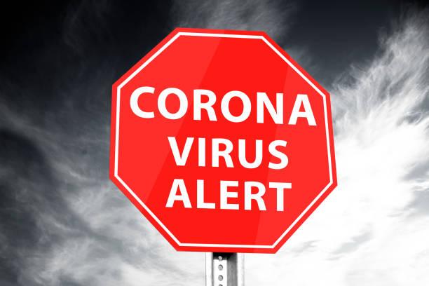 """coronavirus"" virus alert verkeersbord - covid icons stockfoto's en -beelden"